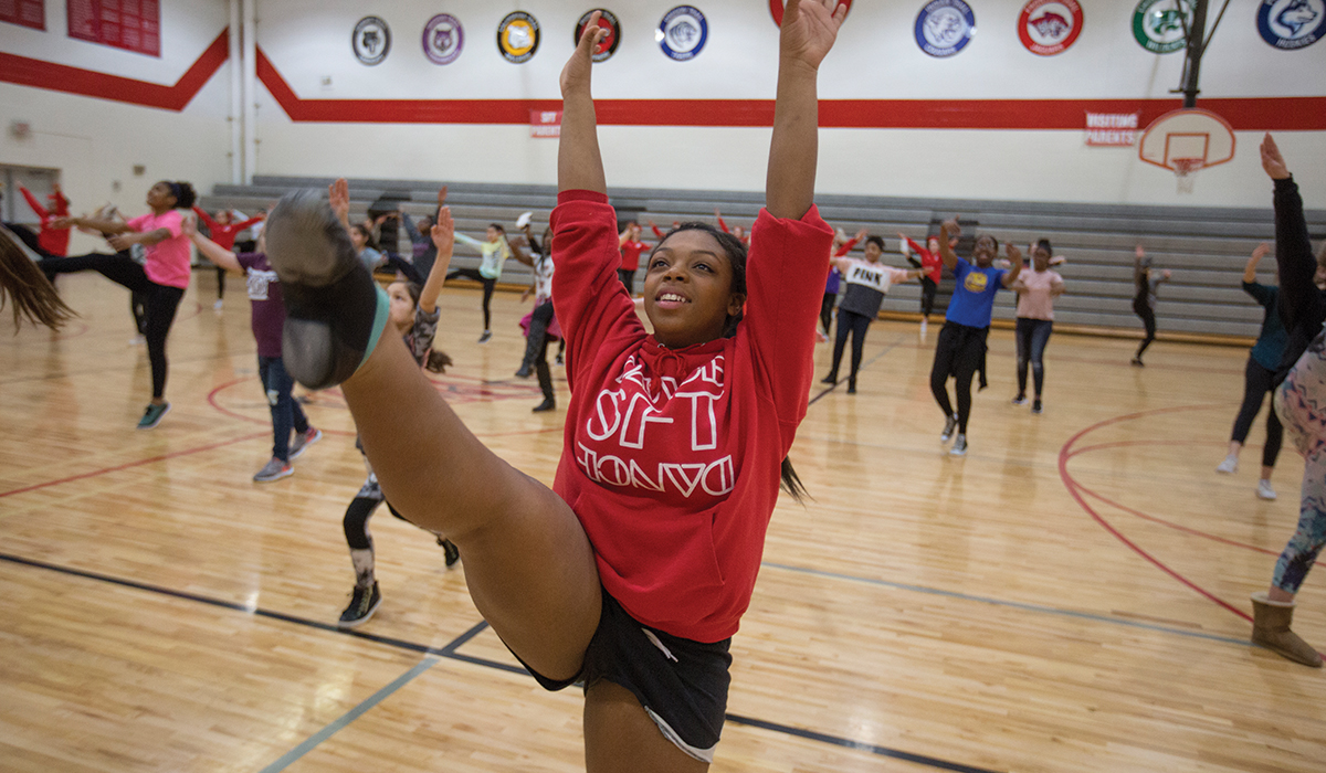 Lakeisa Jacobs takes a class in dance and cheerleading.