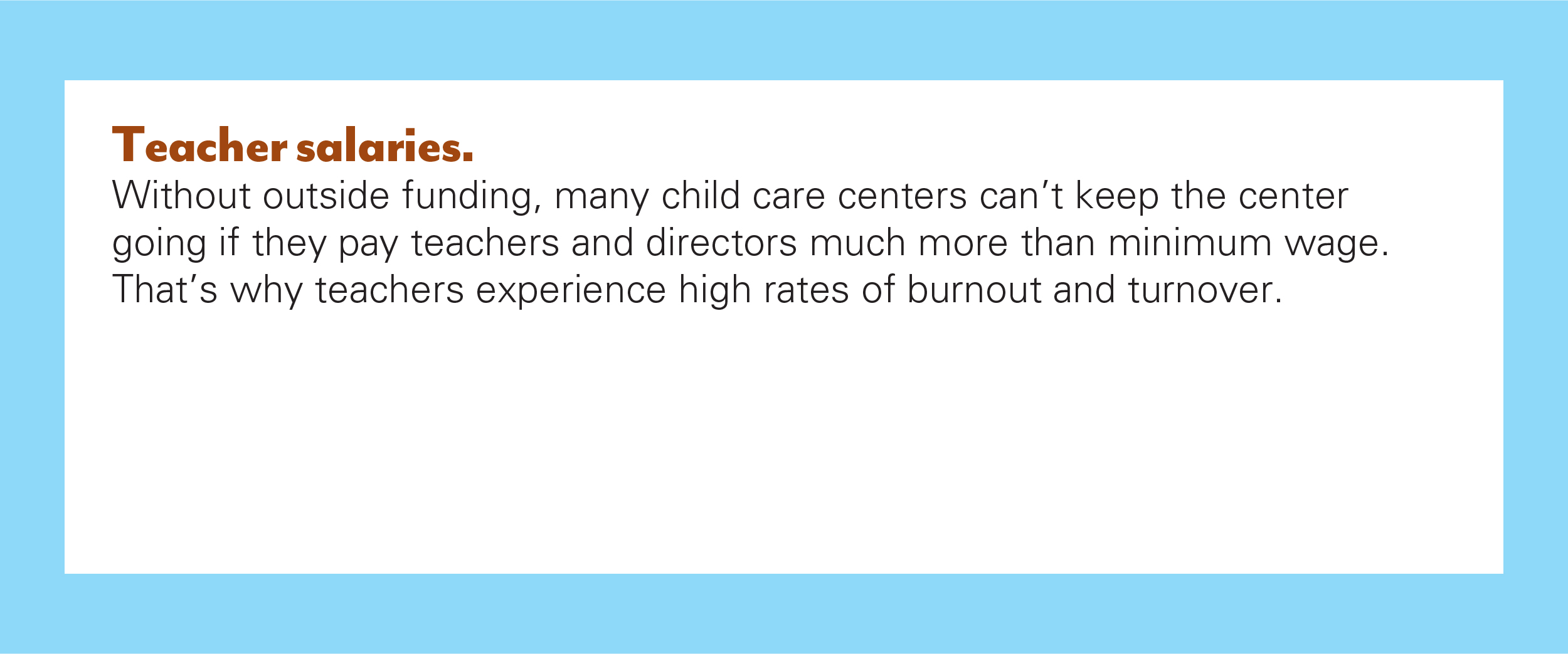 One of the barriers to child care in Kansas.