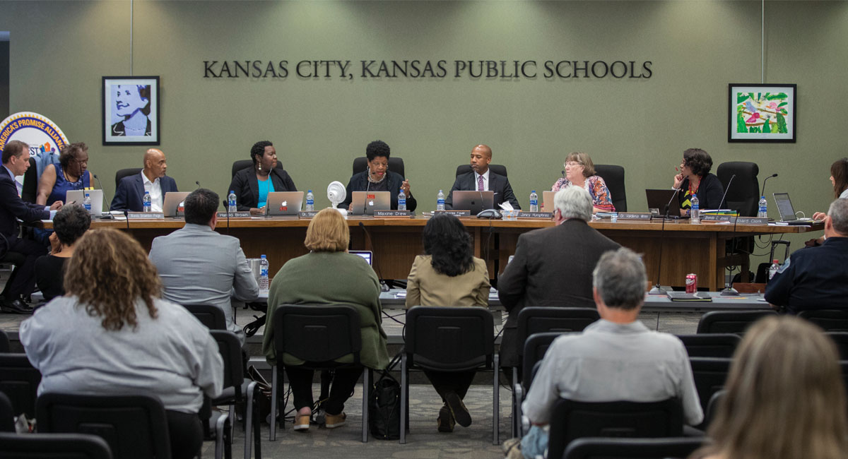 A meeting of the Kansas City Kansas USD 500 Board of Education