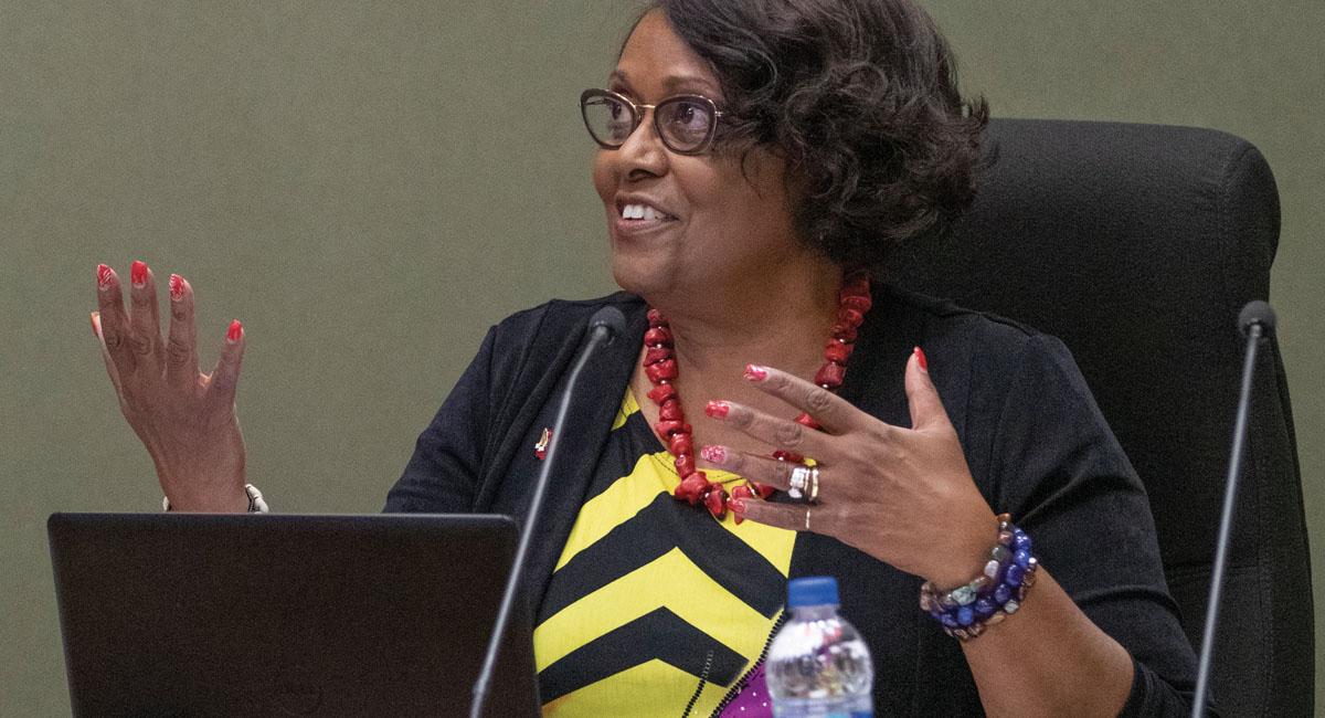 Dr. Valdenia Winn speaks at a USD 500 school board meeting.