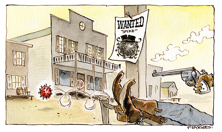 An illustration using the analogy of a Wild West wanted poster to show how the coronavirus vaccines work.
