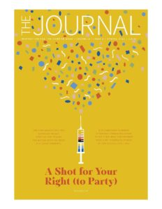 The spring Journal cover is a syringe shooting confetti