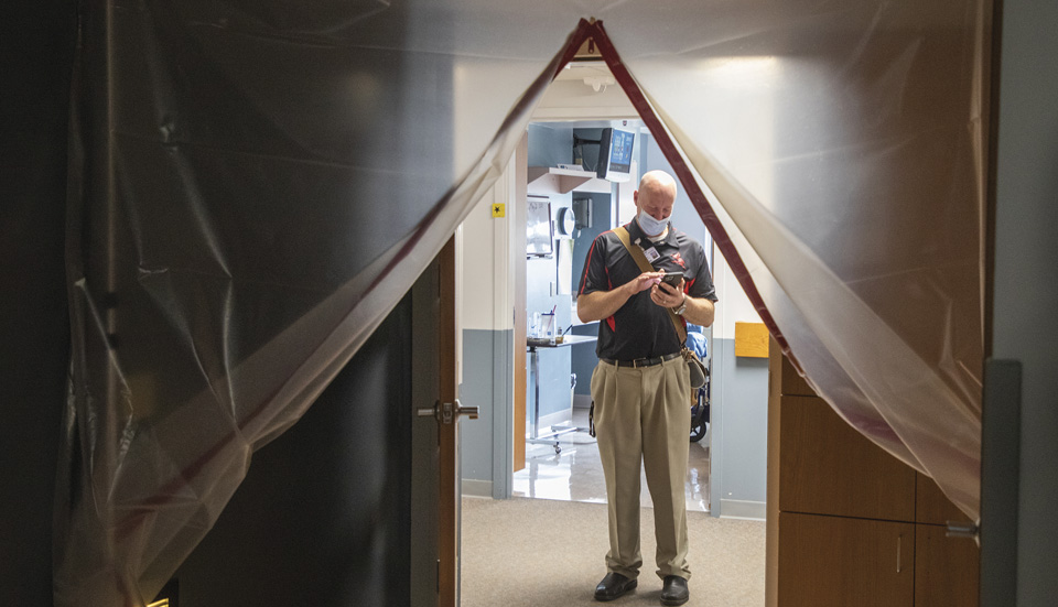 Kris Mathews, chief operating officer, in the hallway at Decatur Health, in Oberlin, Kansas.