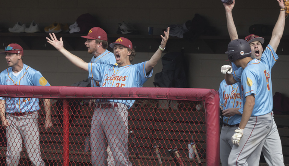 Iowa State players celebrate a victory in the National Club Baseball World Series in Pittsburg