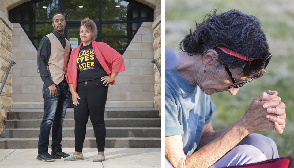 Demetrius and Nuchelle Chance at Fort Hays State; Jeanne Klein prays at a Lawrence memorials service for lynching victims