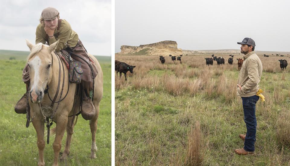 Josie Hoy on horseback; Chaston Hoeme on his ranch