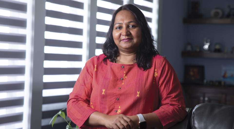 Portrait of Anjana Singh, president of the Indian Association of Kansas City,