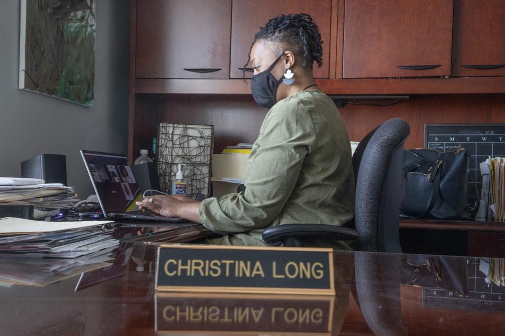 Christina Long at her desk